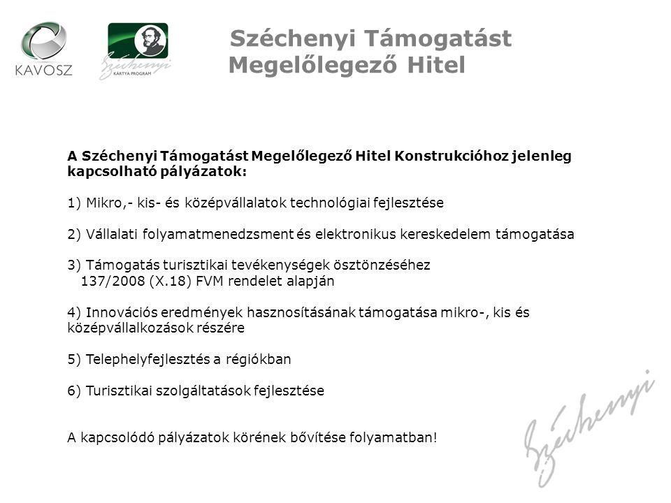 Széchenyi Támogatást Megelőlegező Hitel A Széchenyi Támogatást Megelőlegező Hitel Konstrukcióhoz jelenleg kapcsolható pályázatok: 1) Mikro,- kis- és középvállalatok technológiai fejlesztése 2) Vállalati folyamatmenedzsment és elektronikus kereskedelem támogatása 3) Támogatás turisztikai tevékenységek ösztönzéséhez 137/2008 (X.18) FVM rendelet alapján 4) Innovációs eredmények hasznosításának támogatása mikro-, kis és középvállalkozások részére 5) Telephelyfejlesztés a régiókban 6) Turisztikai szolgáltatások fejlesztése A kapcsolódó pályázatok körének bővítése folyamatban!