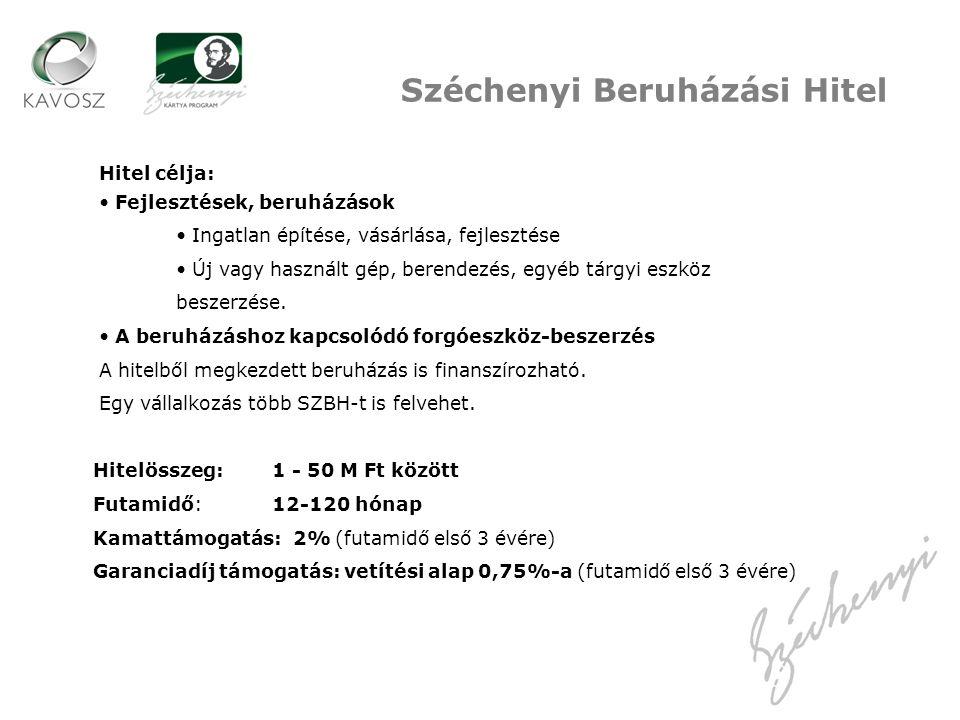 Széchenyi Beruházási Hitel Hitel célja: Fejlesztések, beruházások Ingatlan építése, vásárlása, fejlesztése Új vagy használt gép, berendezés, egyéb tárgyi eszköz beszerzése.