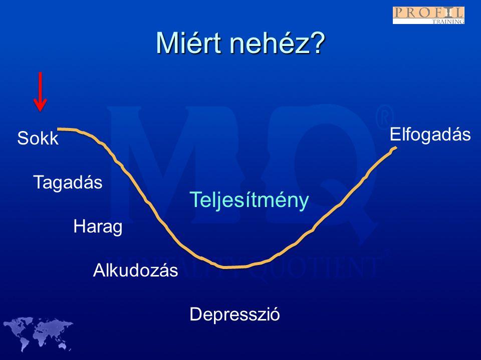 Miért nehéz? Sokk Tagadás Harag Depresszió Alkudozás Elfogadás Teljesítmény