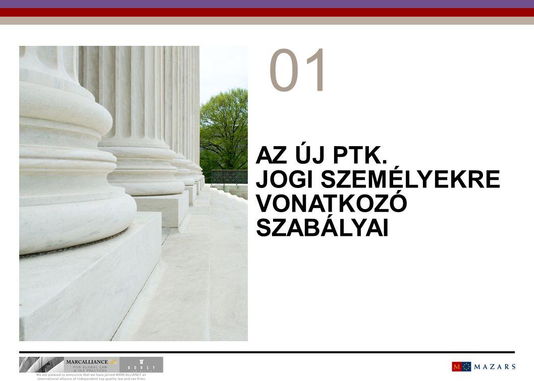 AZ ÚJ PTK.JOGI SZEMÉLYEKRE VONATKOZÓ SZABÁLYAI Társasági jog  Diszpozitivitás a főszabály (3:4.