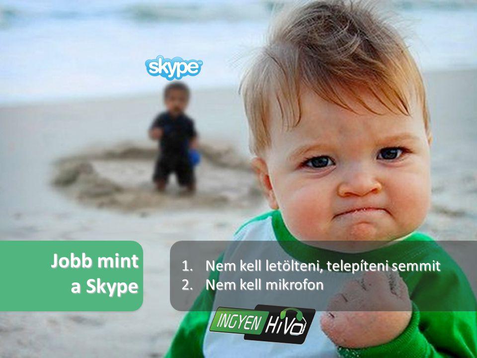 1.Nem kell letölteni, telepíteni semmit 2.Nem kell mikrofon Jobb mint a Skype