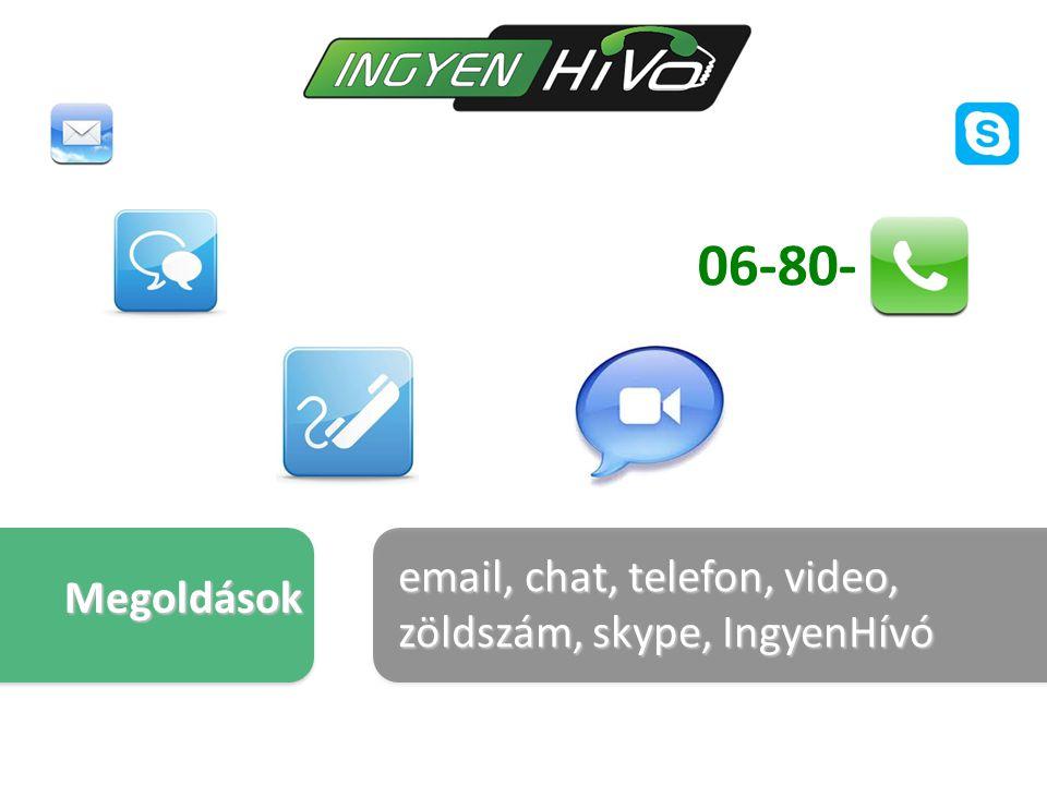 email, chat, telefon, video, zöldszám, skype, IngyenHívó Megoldások 06-80-