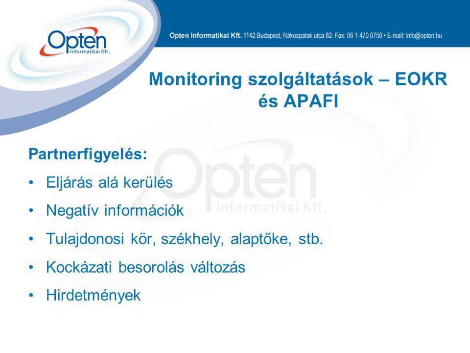 Monitoring szolgáltatások – EOKR és APAFI Partnerfigyelés: Eljárás alá kerülés Negatív információk Tulajdonosi kör, székhely, alaptőke, stb.