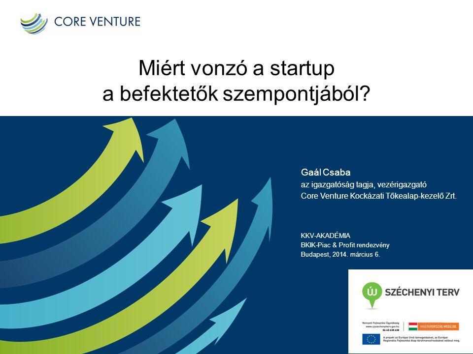 Miért vonzó a startup a befektetők szempontjából? Gaál Csaba az igazgatóság tagja, vezérigazgató Core Venture Kockázati Tőkealap-kezelő Zrt. KKV-AKADÉ