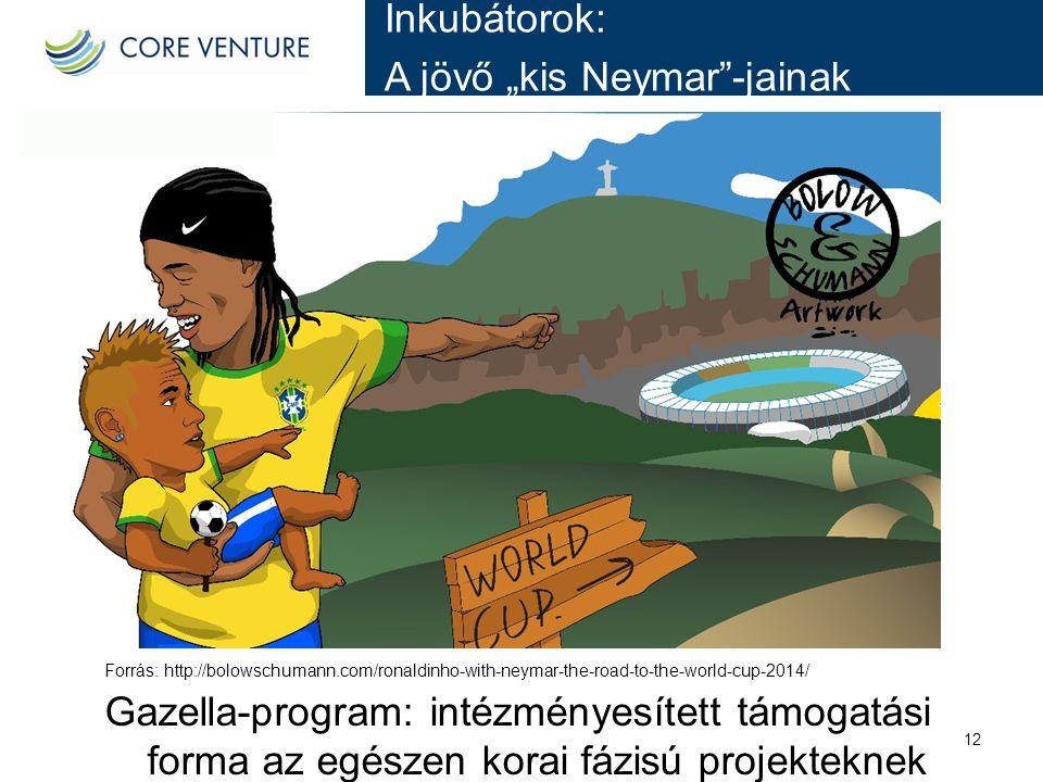 "Inkubátorok: A jövő ""kis Neymar""-jainak 12 Forrás: http://bolowschumann.com/ronaldinho-with-neymar-the-road-to-the-world-cup-2014/ Gazella-program: in"