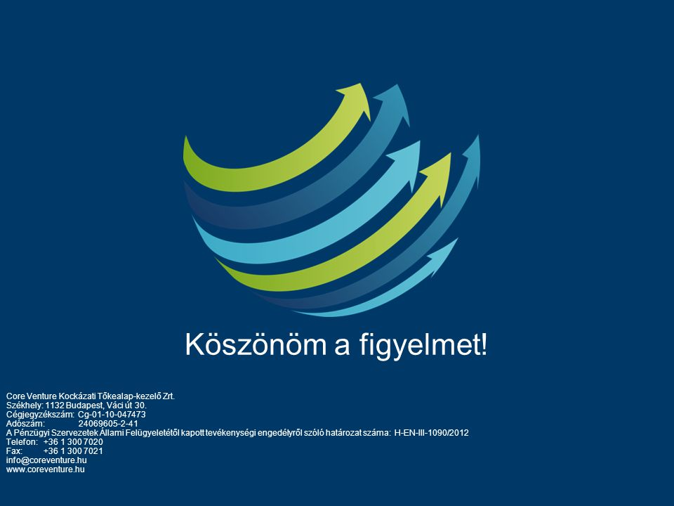Köszönöm a figyelmet! Core Venture Kockázati Tőkealap-kezelő Zrt. Székhely: 1132 Budapest, Váci út 30. Cégjegyzékszám: Cg-01-10-047473 Adószám: 240696