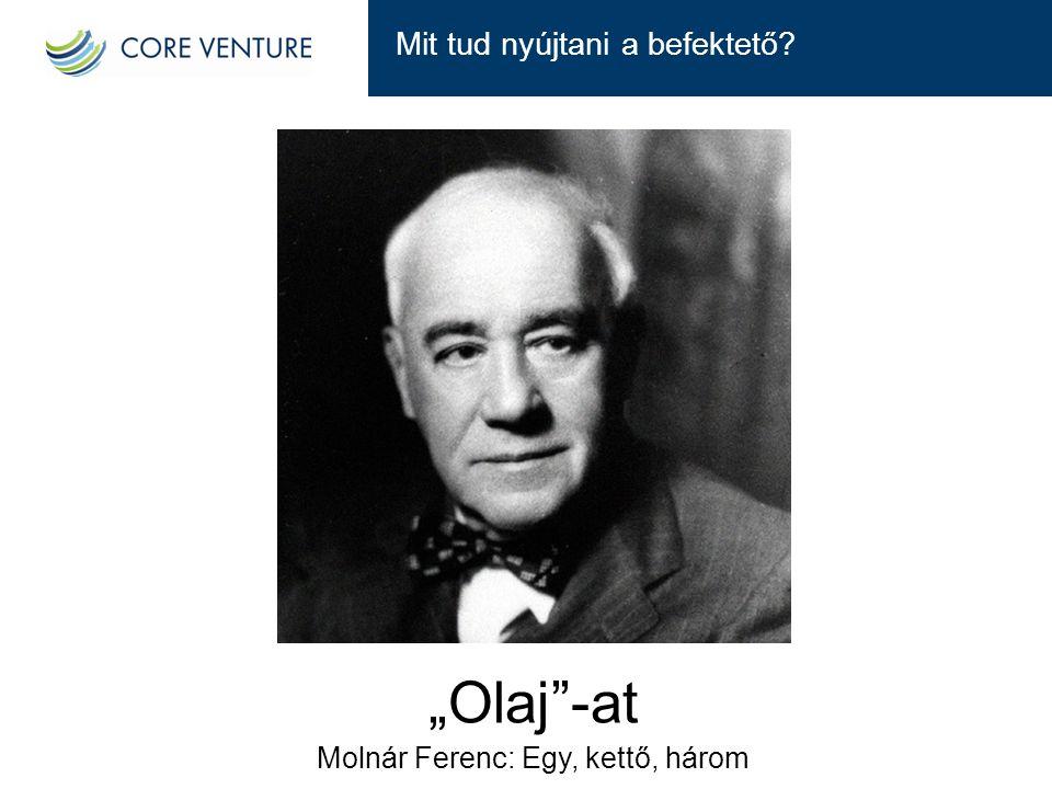 """Mit tud nyújtani a befektető? """"Olaj""""-at Molnár Ferenc: Egy, kettő, három"""
