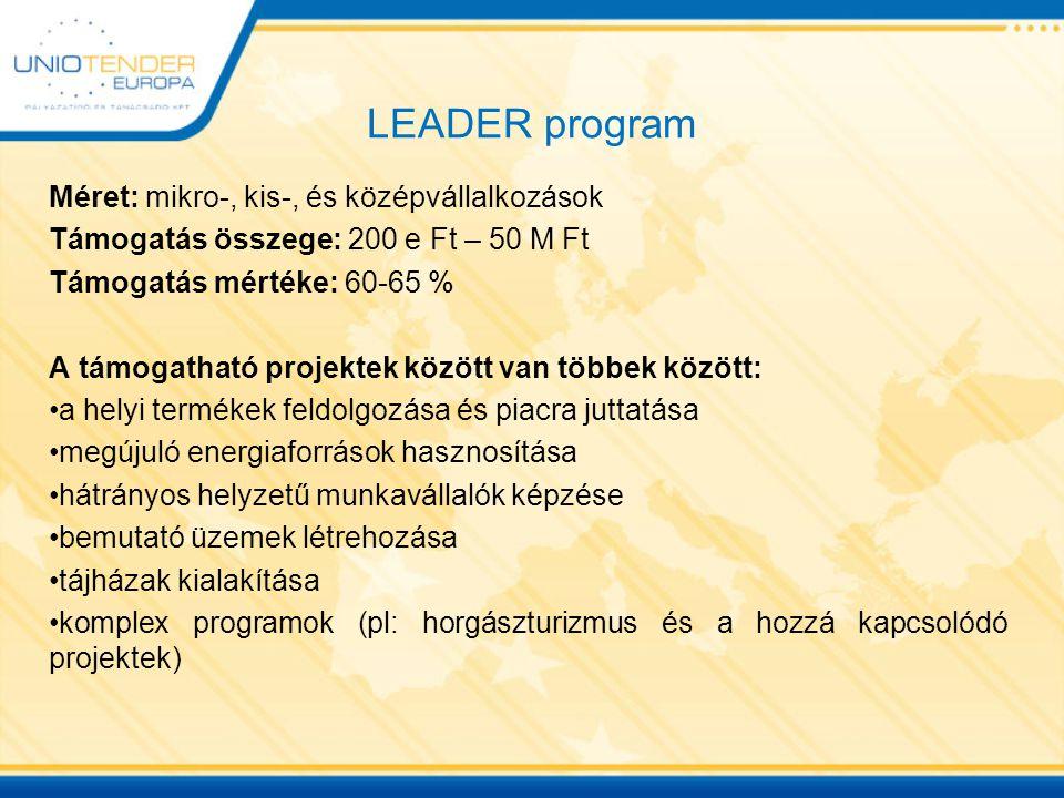 LEADER program Méret: mikro-, kis-, és középvállalkozások Támogatás összege: 200 e Ft – 50 M Ft Támogatás mértéke: 60-65 % A támogatható projektek köz