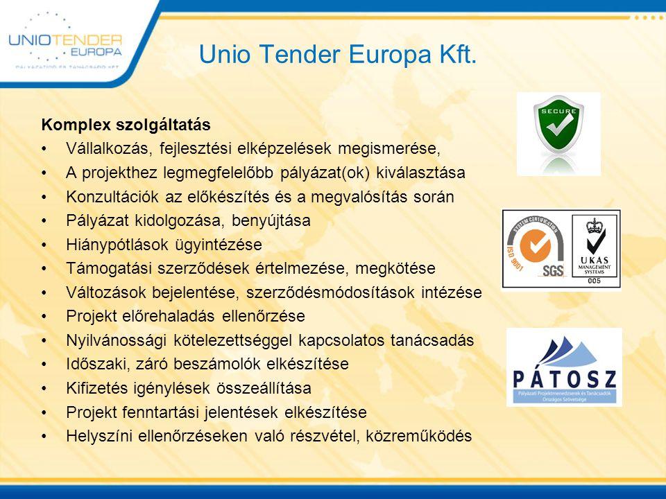 Unio Tender Europa Kft. Komplex szolgáltatás Vállalkozás, fejlesztési elképzelések megismerése, A projekthez legmegfelelőbb pályázat(ok) kiválasztása