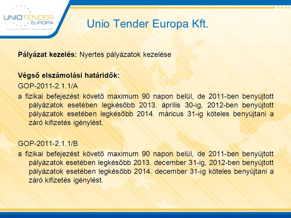 Unio Tender Europa Kft. Pályázat kezelés: Nyertes pályázatok kezelése Végső elszámolási határidők: GOP-2011-2.1.1/A a fizikai befejezést követő maximu