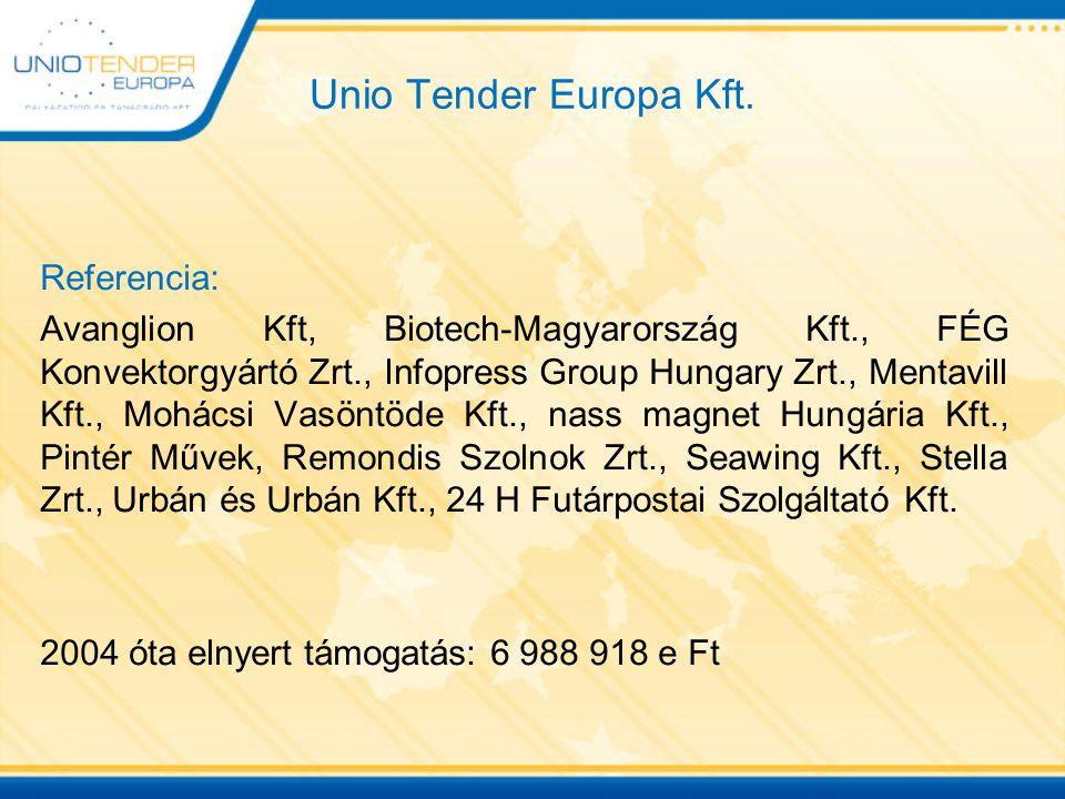 Unio Tender Europa Kft. Referencia: Avanglion Kft, Biotech-Magyarország Kft., FÉG Konvektorgyártó Zrt., Infopress Group Hungary Zrt., Mentavill Kft.,