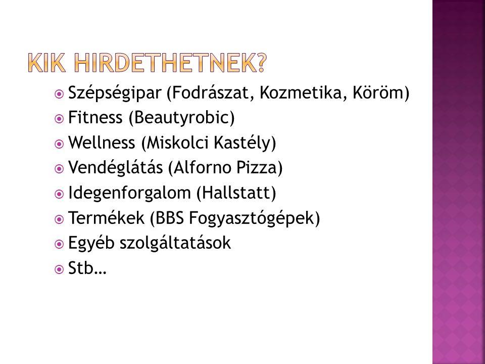  Szépségipar (Fodrászat, Kozmetika, Köröm)  Fitness (Beautyrobic)  Wellness (Miskolci Kastély)  Vendéglátás (Alforno Pizza)  Idegenforgalom (Hallstatt)  Termékek (BBS Fogyasztógépek)  Egyéb szolgáltatások  Stb…