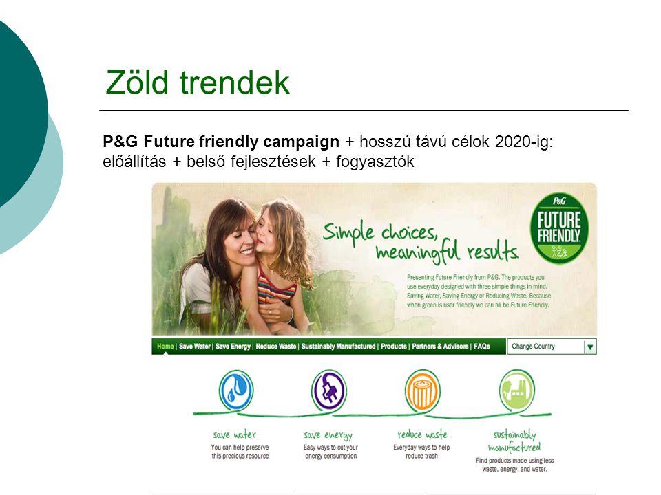 Zöld trendek P&G Future friendly campaign + hosszú távú célok 2020-ig: előállítás + belső fejlesztések + fogyasztók