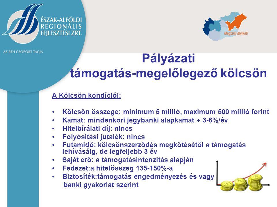A Kölcsön kondíciói: Kölcsön összege: minimum 5 millió, maximum 500 millió forint Kamat: mindenkori jegybanki alapkamat + 3-6%/év Hitelbírálati díj: n
