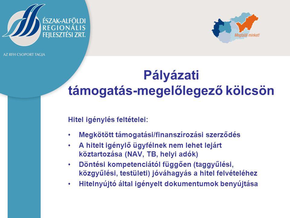 Hitel igénylés feltételei: Megkötött támogatási/finanszírozási szerződés A hitelt igénylő ügyfélnek nem lehet lejárt köztartozása (NAV, TB, helyi adók