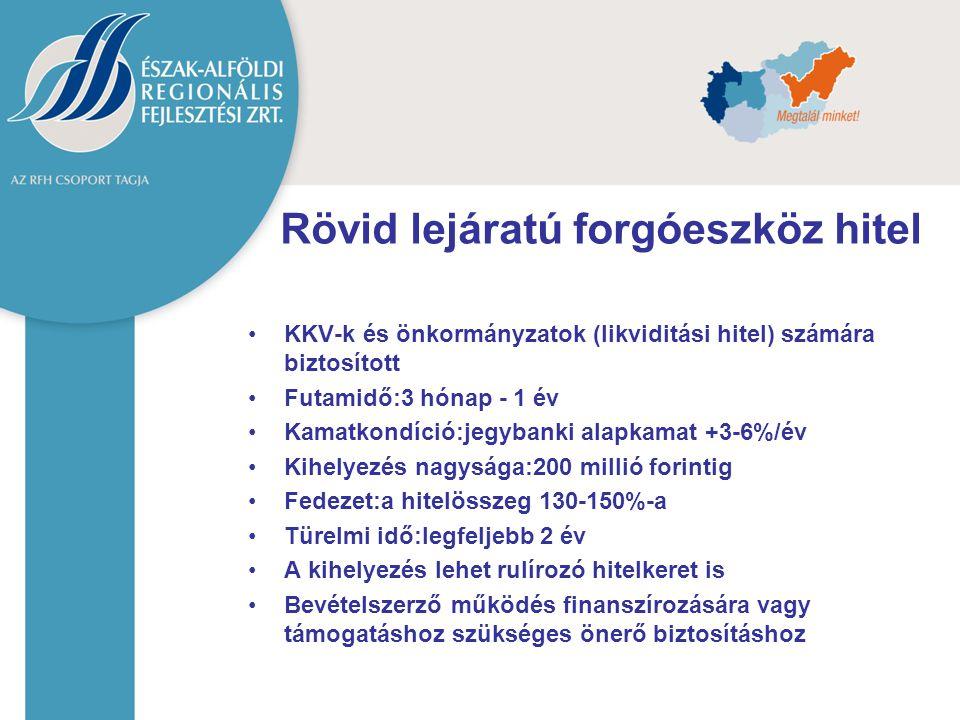 Rövid lejáratú forgóeszköz hitel KKV-k és önkormányzatok (likviditási hitel) számára biztosított Futamidő:3 hónap - 1 év Kamatkondíció:jegybanki alapk