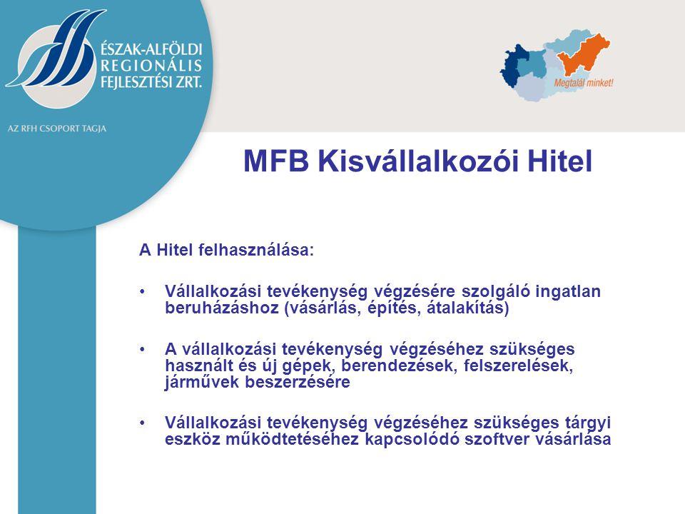 MFB Kisvállalkozói Hitel A Hitel felhasználása: Vállalkozási tevékenység végzésére szolgáló ingatlan beruházáshoz (vásárlás, építés, átalakítás) A vál