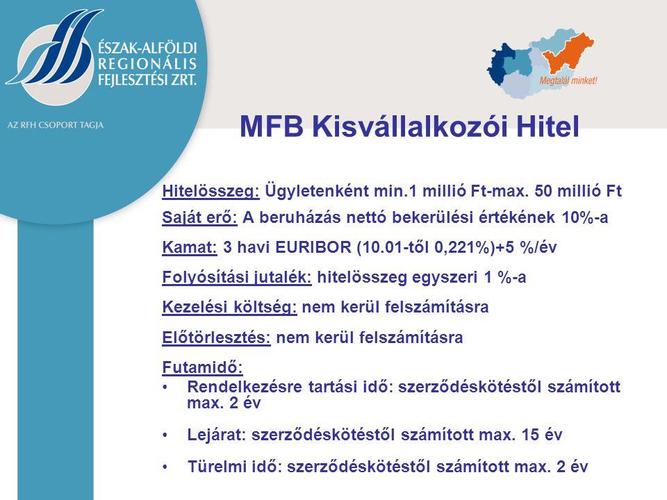 MFB Kisvállalkozói Hitel Hitelösszeg: Ügyletenként min.1 millió Ft-max. 50 millió Ft Saját erő: A beruházás nettó bekerülési értékének 10%-a Kamat: 3