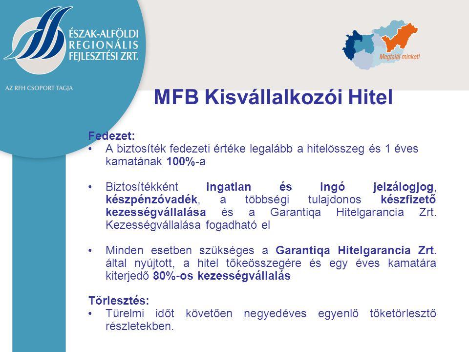 MFB Kisvállalkozói Hitel Fedezet: A biztosíték fedezeti értéke legalább a hitelösszeg és 1 éves kamatának 100%-a Biztosítékként ingatlan és ingó jelzá