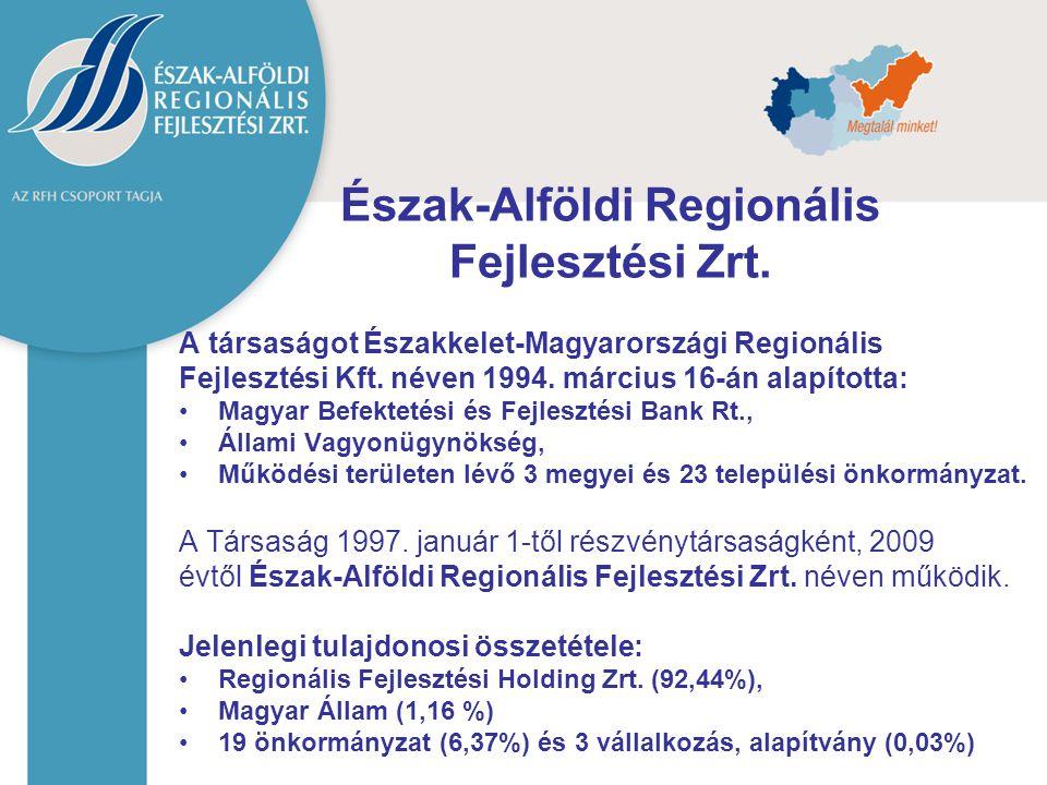 Észak-Alföldi Regionális Fejlesztési Zrt. A társaságot Északkelet-Magyarországi Regionális Fejlesztési Kft. néven 1994. március 16-án alapította: Magy