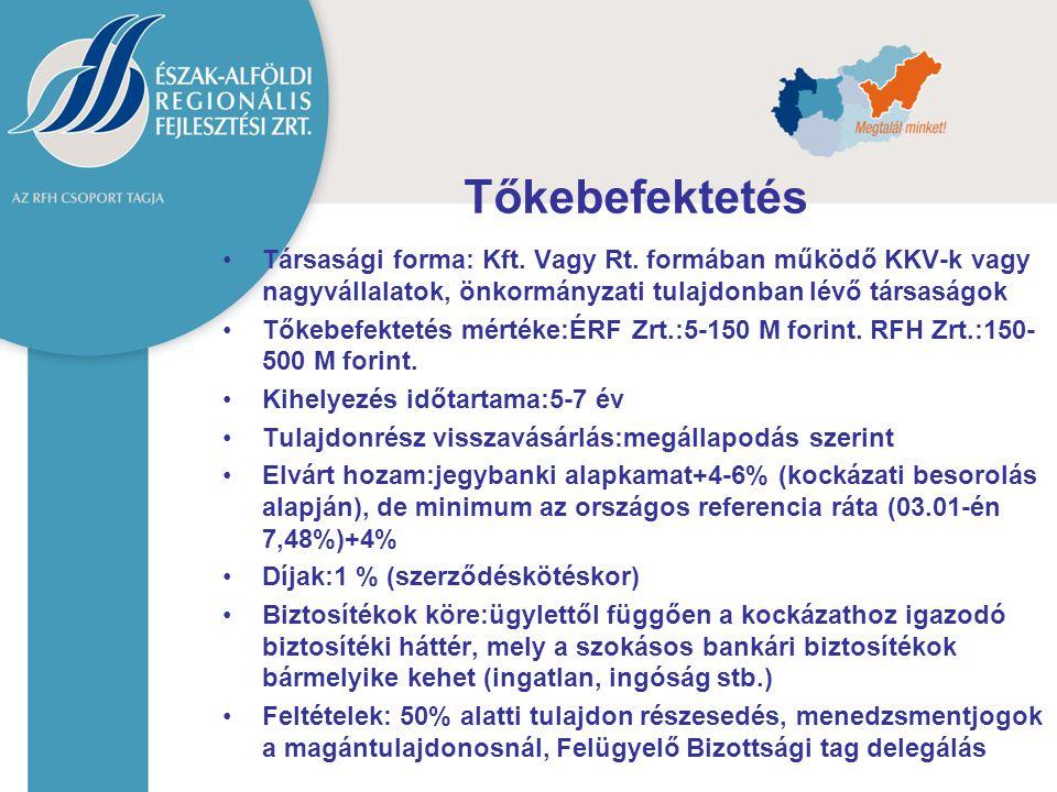 Tőkebefektetés Társasági forma: Kft. Vagy Rt. formában működő KKV-k vagy nagyvállalatok, önkormányzati tulajdonban lévő társaságok Tőkebefektetés mért