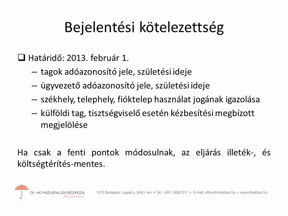 Bejelentési kötelezettség  Határidő: 2013.február 1.