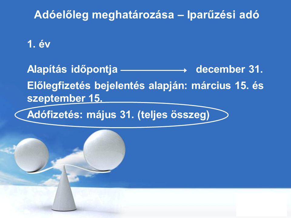 Free Powerpoint Templates Page 10 Adóelőleg meghatározása – Iparűzési adó 1. év Alapítás időpontja december 31. Előlegfizetés bejelentés alapján: márc
