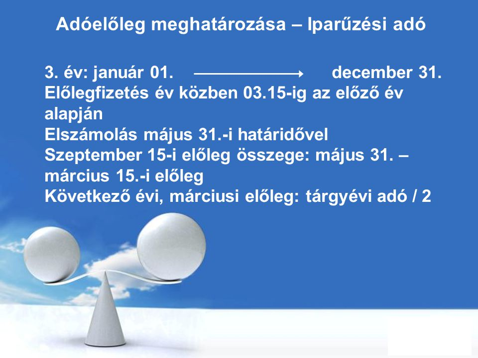 Free Powerpoint Templates Page 12 Adóelőleg meghatározása – Iparűzési adó 3. év: január 01. december 31. Előlegfizetés év közben 03.15-ig az előző év