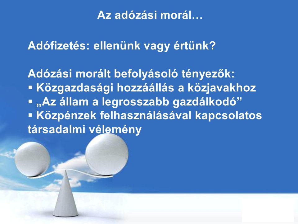 Free Powerpoint Templates Page 2 Az adózási morál… Adófizetés: ellenünk vagy értünk? Adózási morált befolyásoló tényezők:  Közgazdasági hozzáállás a