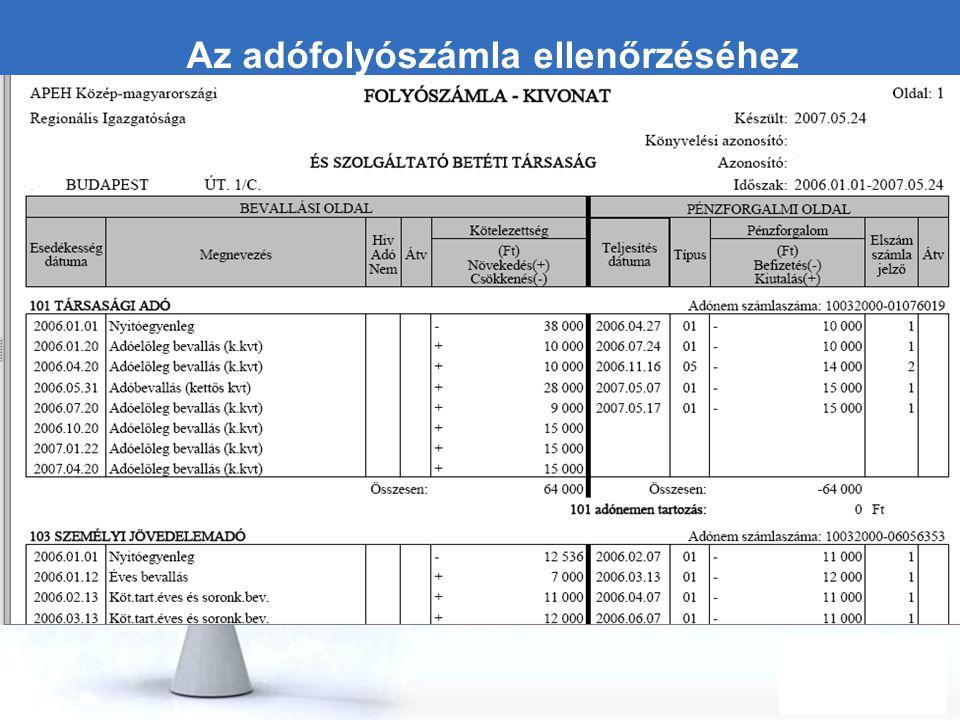 Free Powerpoint Templates Page 21 Az adófolyószámla ellenőrzéséhez