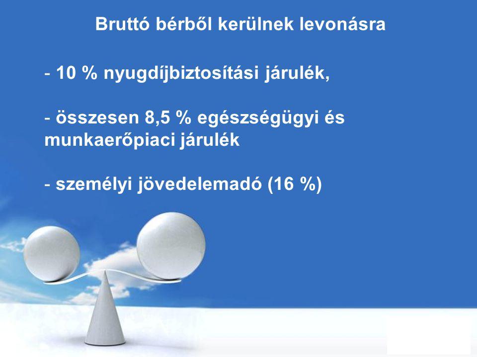 Free Powerpoint Templates Page 29 Bruttó bérből kerülnek levonásra - 10 % nyugdíjbiztosítási járulék, - összesen 8,5 % egészségügyi és munkaerőpiaci j