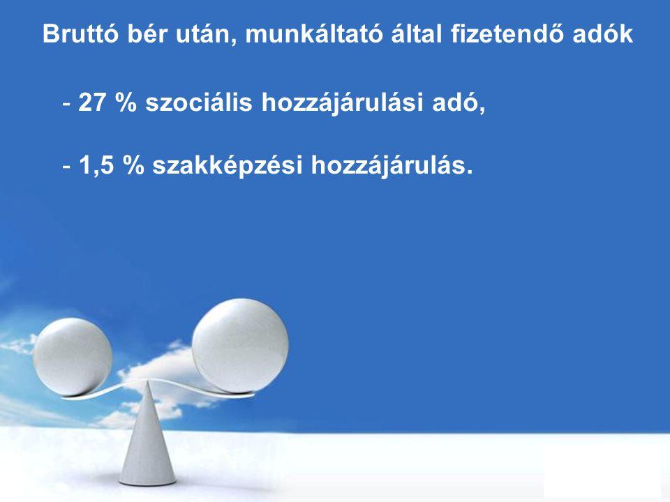 Free Powerpoint Templates Page 30 Bruttó bér után, munkáltató által fizetendő adók - 27 % szociális hozzájárulási adó, - 1,5 % szakképzési hozzájárulá