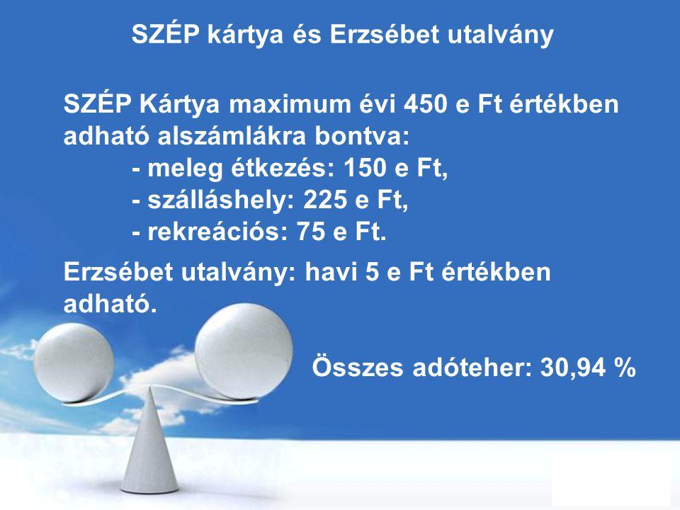 Free Powerpoint Templates Page 44 SZÉP kártya és Erzsébet utalvány SZÉP Kártya maximum évi 450 e Ft értékben adható alszámlákra bontva: - meleg étkezé