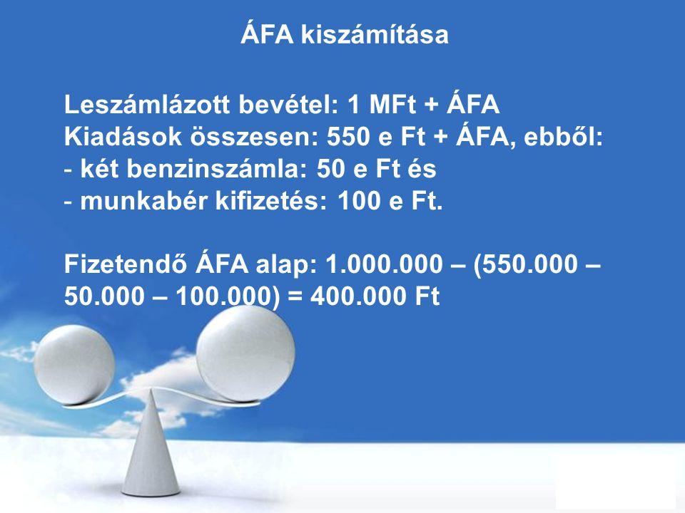 Free Powerpoint Templates Page 56 ÁFA kiszámítása Leszámlázott bevétel: 1 MFt + ÁFA Kiadások összesen: 550 e Ft + ÁFA, ebből: - két benzinszámla: 50 e