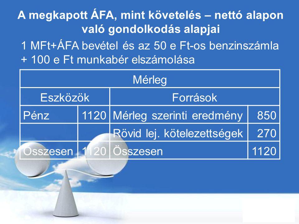 Free Powerpoint Templates Page 58 A megkapott ÁFA, mint követelés – nettó alapon való gondolkodás alapjai 1 MFt+ÁFA bevétel és az 50 e Ft-os benzinszá