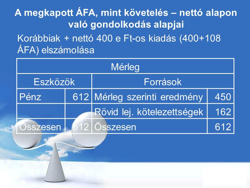 Free Powerpoint Templates Page 59 A megkapott ÁFA, mint követelés – nettó alapon való gondolkodás alapjai Korábbiak + nettó 400 e Ft-os kiadás (400+10