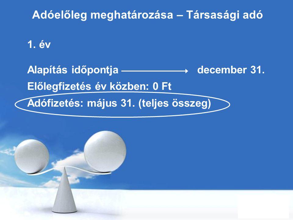 Free Powerpoint Templates Page 8 Adóelőleg meghatározása – Társasági adó 1. év Alapítás időpontja december 31. Előlegfizetés év közben: 0 Ft Adófizeté