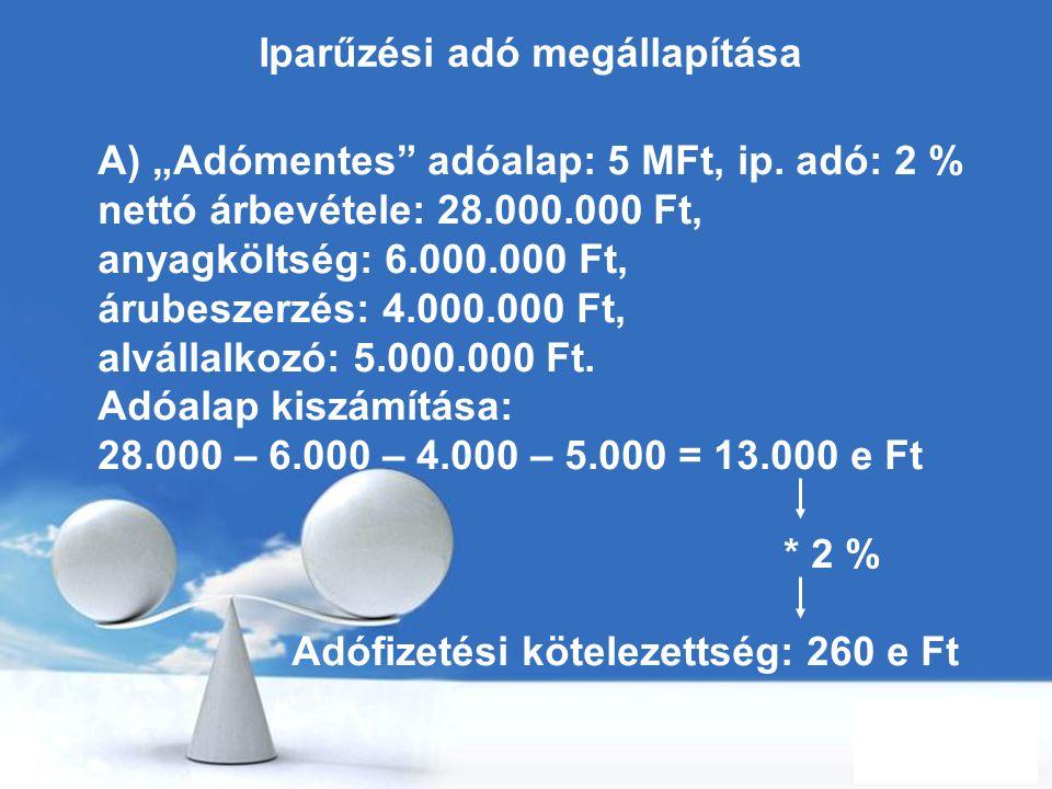 """Free Powerpoint Templates Page 85 Iparűzési adó megállapítása A) """"Adómentes"""" adóalap: 5 MFt, ip. adó: 2 % nettó árbevétele: 28.000.000 Ft, anyagköltsé"""