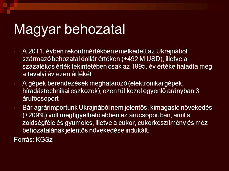 Magyar behozatal A 2011.