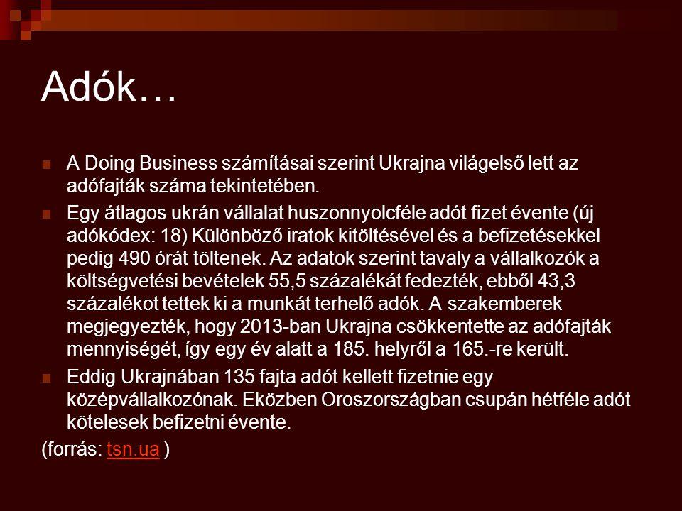 Adók… A Doing Business számításai szerint Ukrajna világelső lett az adófajták száma tekintetében.