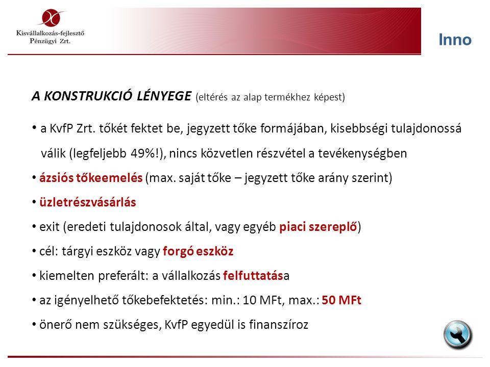 Inno A KONSTRUKCIÓ LÉNYEGE (eltérés az alap termékhez képest) a KvfP Zrt. tőkét fektet be, jegyzett tőke formájában, kisebbségi tulajdonossá válik (le