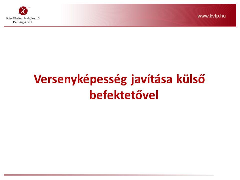 Versenyképesség javítása külső befektetővel www.kvfp.hu