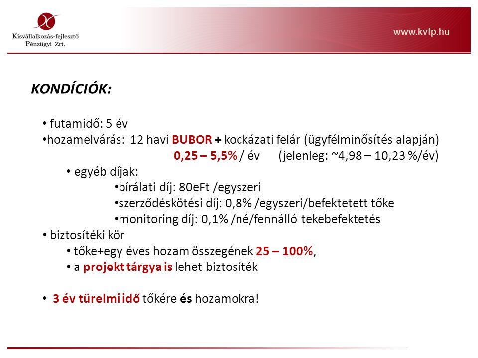 """KONDÍCIÓK: futamidő: 3-7 év hozamelvárás: 12 havi BUBOR + kockázati felár (ügyfélminősítés alapján) 10,00 – 15,00% / év (ez csak irány, piaci ár) egyéb díjak: bírálati díj: 400 eFt (egyszeri) szerződéskötési díj: 0,8% (befektetett tőke, egyszeri) monitoring díj: 0,1%/né/fennálló tekebefektetés biztosítéki kör: tőke + egy éves hozam összegének 0 – 15%, a projekt tárgya is lehet biztosíték (továbbá """"soft , pl.: szabadalom is) megfelelő biztosíték esetén, a készfizető kezesség opcionális visszavásárlás: futamidő végén egy összegben és piaci alapon Inno"""