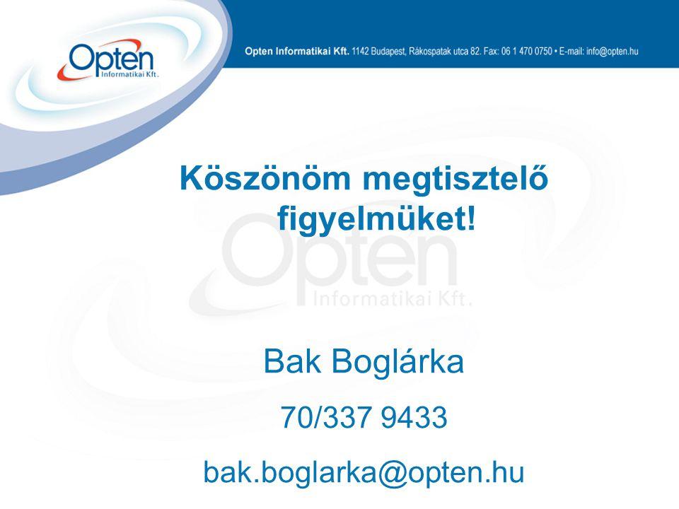 Köszönöm megtisztelő figyelmüket! Bak Boglárka 70/337 9433 bak.boglarka@opten.hu