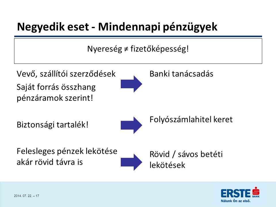 2014.07. 22. – 17 Vevő, szállítói szerződések Saját forrás összhang pénzáramok szerint.