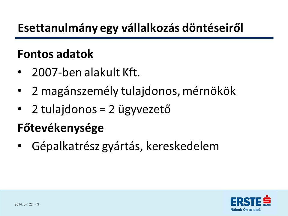 2014.07. 22. – 3 Esettanulmány egy vállalkozás döntéseiről Fontos adatok 2007-ben alakult Kft.
