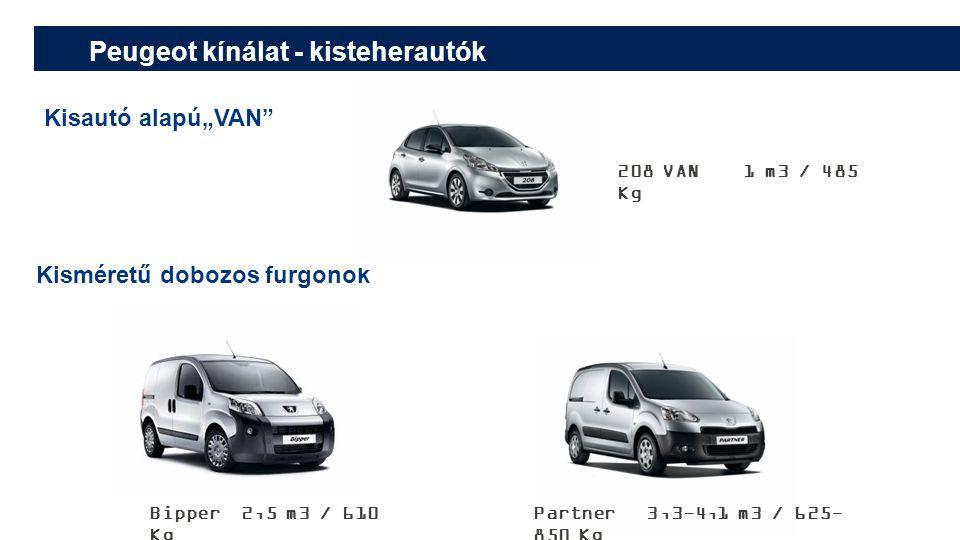 """Peugeot kínálat - kisteherautók Kisautó alapú""""VAN Kisméretű dobozos furgonok 208 VAN 1 m3 / 485 Kg Partner 3,3-4,1 m3 / 625- 850 Kg Bipper 2,5 m3 / 610 Kg"""