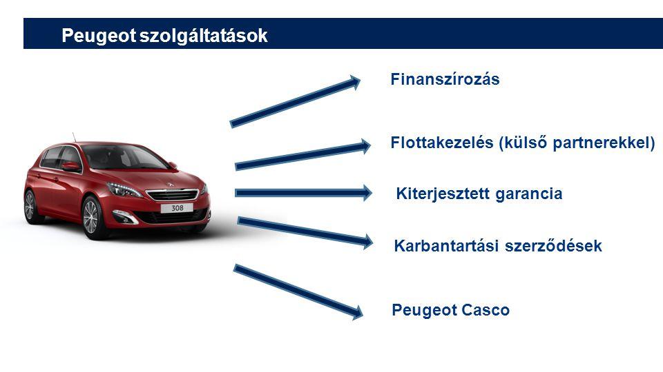 Finanszírozás Flottakezelés (külső partnerekkel) Kiterjesztett garancia Karbantartási szerződések Peugeot Casco