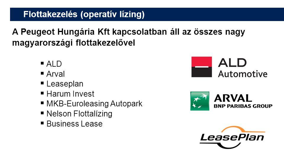 Flottakezelés (operatív lízing) A Peugeot Hungária Kft kapcsolatban áll az összes nagy magyarországi flottakezelővel  ALD  Arval  Leaseplan  Harum