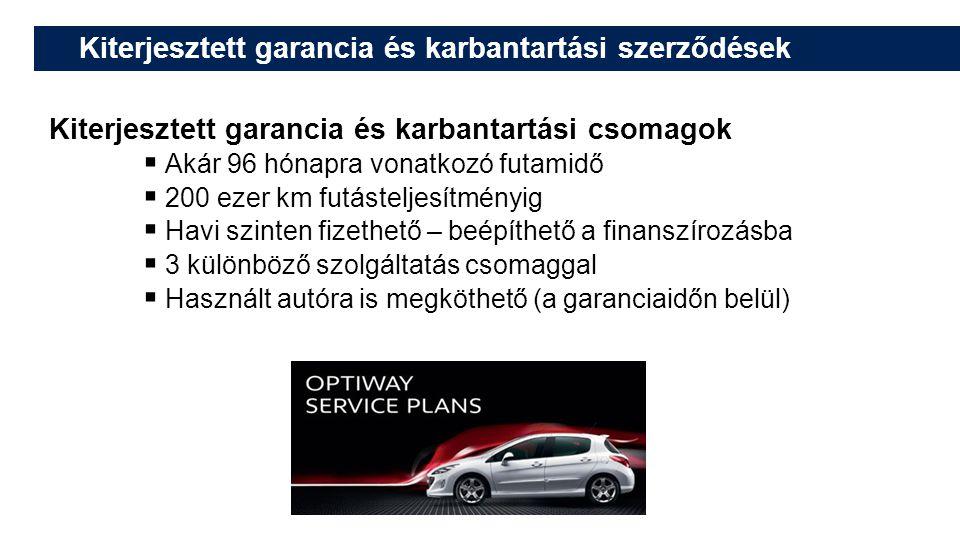 Kiterjesztett garancia és karbantartási szerződések Kiterjesztett garancia és karbantartási csomagok  Akár 96 hónapra vonatkozó futamidő  200 ezer km futásteljesítményig  Havi szinten fizethető – beépíthető a finanszírozásba  3 különböző szolgáltatás csomaggal  Használt autóra is megköthető (a garanciaidőn belül)